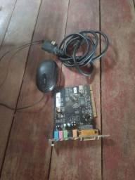 Placa de áudio + Cabo de energia  + Mouse
