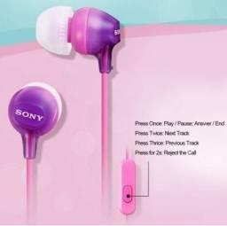 Fone com Microfone Intra-Auricular - Sony MDR-EX15AP - Roxo - Novo (Lacrado + Nota Fiscal)