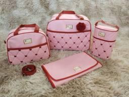 Kit de bolsa maternidade Rosa baby Bordado de Coração