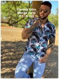 Camisa linho masculina