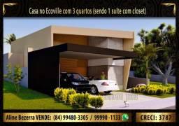 Casa no condomínio Ecoville com 3 quartos, quintal, cozinha em conceito aberto, ETC
