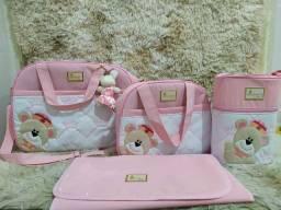 Kit de bolsa maternidade ursinha rosa baby