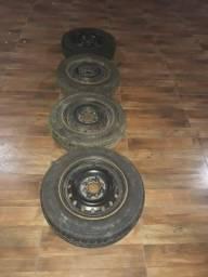 jogo de rodas fiat aro 13 com pneus meia vida