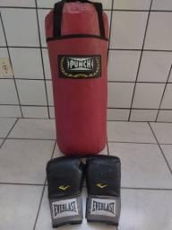 Saco de pancadas + luvas de boxe Everlast