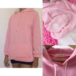 Moletom casaco rosa com capuz e bolso