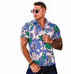 Título do anúncio: Camisa floral Slim casual masculino