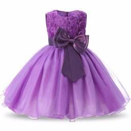 Laço Vestido Infantil Festa Criança Princesa Aniversário Casamento Tamanho 2 e 12