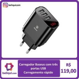 Título do anúncio: Carregador Baseus com 3 portas USB | Carregamento rápido