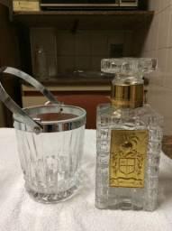 Balde de Gelo de Cristal e Garrafa de Cristal para Whisky