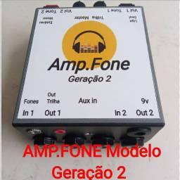 Amplificador de fones Estéreo GERAÇÃO 2 ideal para LIVES E GRAVAÇÕES.  ( Power click )