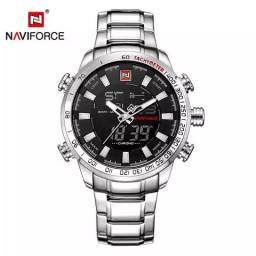 c580fd44ac2 Relógio Naviforce Novo Original Masculino Casual Esportivo de Aço Inox  Digital Analógico