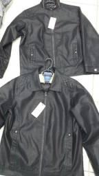 Jaquetas masculinas couro ecológico. Modelo motoqueiro e social. Passo cartão