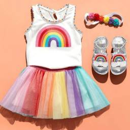 Blusa arco íris paetê importada da Childrens Place Nova, com tag)