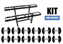 Título do anúncio: kit dumbell emborrachado 12 a 30 kg