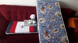 Lote colchão, trocador, kit higiene e quadro