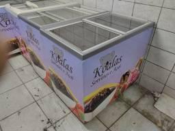 Freezer horizontal tampa de vidro