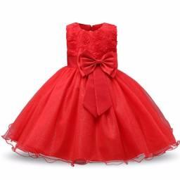 Vermelho Tamanho 6 Vestido Infantil Princesa Casamento Aniversário