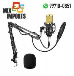 Kit Microfone Condensador Bm800 + Braço + Pop Filter (Novo, aceito cartão)