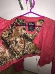 Jaqueta de couro usada poucas vezes