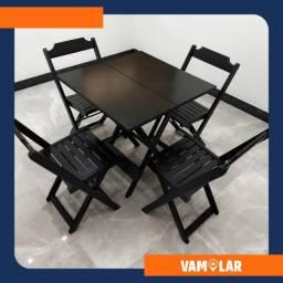 Título do anúncio: Mesa de Madeira Dobrável c\4 cadeiras