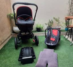 Carrinho infanti igiro 360º + bb conforto + base + almofadada siliconfort