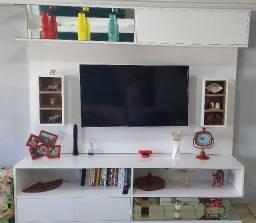 Painel + Rack para TV em laca branca