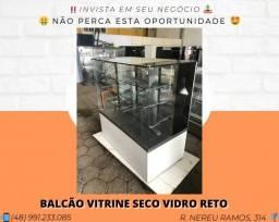 Balcão Vitrine Quadrada 1.33M Vidro Reto - Com iluminação | Matheus
