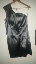 Belíssimo vestido prata, de festa, usado 1x!!