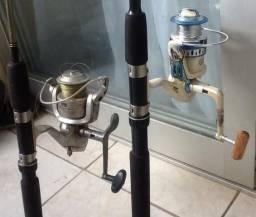 2 vara de pesca barato pouco uso
