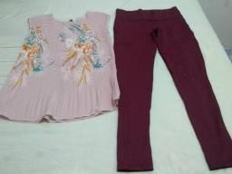 Conjunto calça Cavalera m + blusa drapeada m