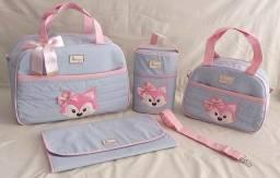 Kit de bolsa maternidade raposa azul e rosa baby