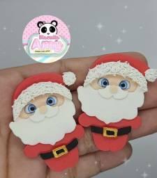Apliques para laços natal biscuit papai noel