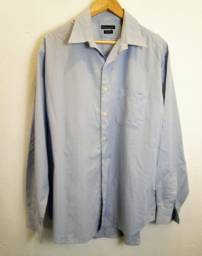camisa social listrada azul e branca da richards, tamanho 42