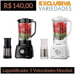 Liquidificador Turbo 3 Velocidades Branco/Preto Mondial