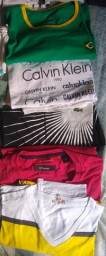 Camisetas  P ( Puma, Colcci, Calvin Klein, Reserva, Ópera Rock) - 10 peças R$ 150,00