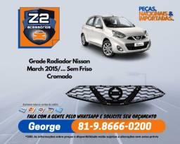 Grade Radiador Nissan March 2015/... Sem Friso Cromado