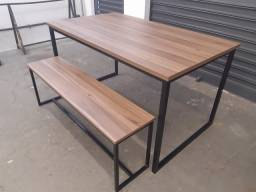 Mesa de jantar e banco estilo industrial 1,40×0,80