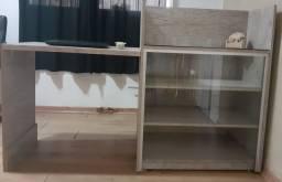 Balcao Expositor de vidro com bancada e caixa