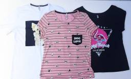 Kit lote combo pacote t-shirt camisa blusa P