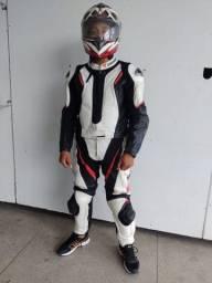 Macacão em couro para moto
