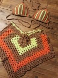 Conjunto de crochê blogueira  neon