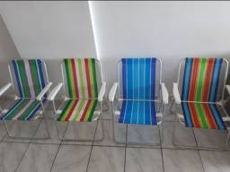4 cadeiras (alumínio) de praia + guarda-sol