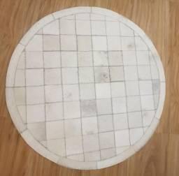 Tapete redondo quadriculado 100% couro de boi - 1m