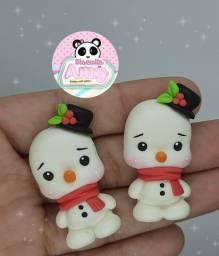 Apliques para laços natal biscuit boneco de neve