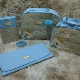 Kit de bolsa maternidade Azul baby ursinho pompom