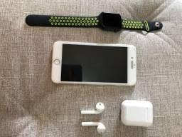 iPhone 7 Plus + relógio + fone
