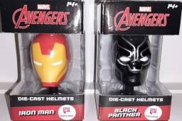 Miniatura Capacete Marvel - Iron Man / Black Panther - Die-Cast Helmets - Importado <br>