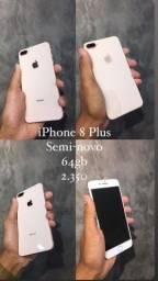 iphone 8 plus, semi novo 64gb 2.350 bateria 92%