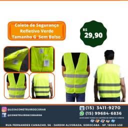 Título do anúncio: Colete de Segurança Refletivo Verde Tamanho G  Sem Bolso