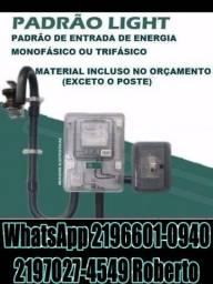Eletricista Credenciado padrão light / serviços de Eletricista Resolvemos + Poste de Aço